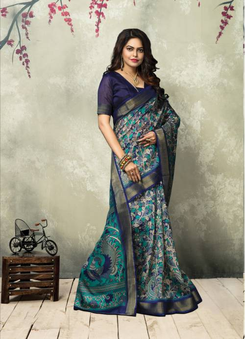 Turquoise Casual Art Silk Floral Saree With Unstitched Blouse