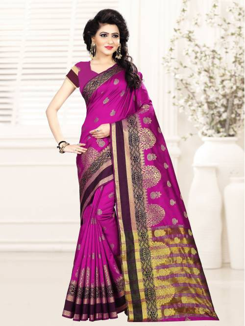 Pink Color Art Silk Thread Work Contemporary Saree With Unstitched Blouse Material