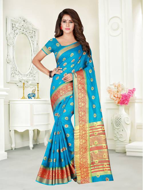 Sky Blue Color Cotton Blend Zari Work Traditional Saree With Unstitched Blouse Material