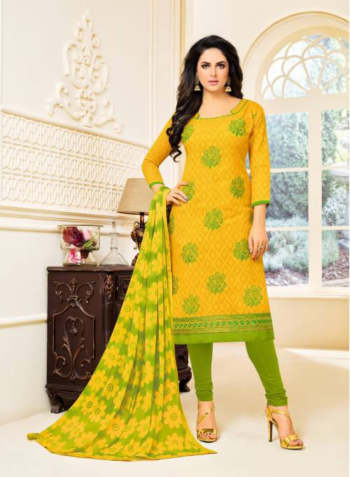 Yellow Cotton Blend Embellished Unstitched Straight Churidar Suit