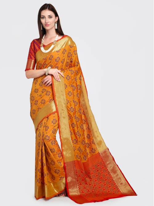 Craftsvilla Yellow Silk Blend Woven Traditional Patola Saree With Unstitched Blouse Material