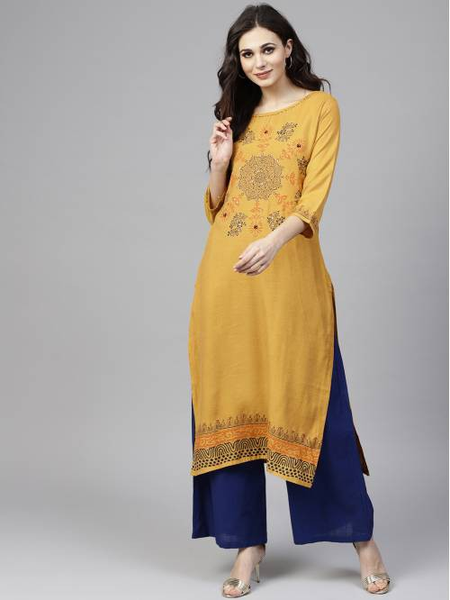 Mustard Rayon Embroidered Straight Kurti