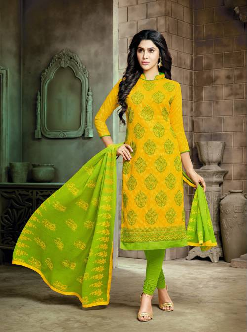 Craftsvilla Yellow Lakda Jacquard Floral Embroidered Party Dress Material With Unstitched Dupatta