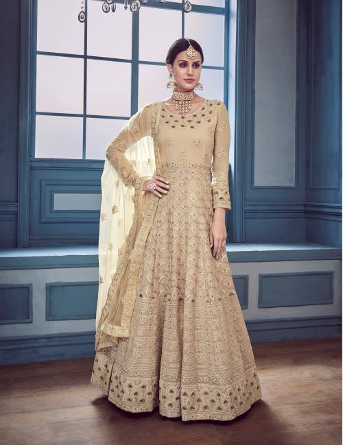 Beige Georgette Embroidered Traditional Semi-stitched Anarkali Suit
