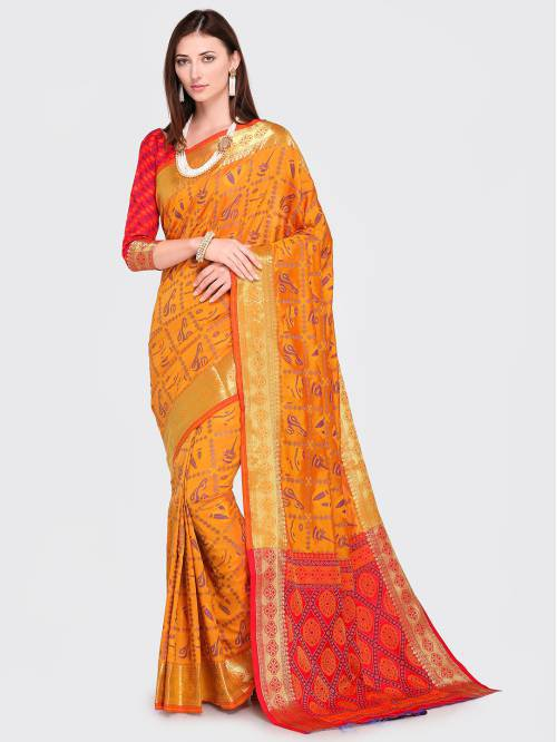 Yellow Silk Blend Woven Traditional Patola Saree With Unstitched Blouse Material