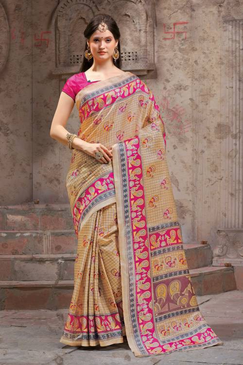 Craftsvilla Beige Silk Blend Madhubani Printed Traditional Saree With Unstitched Blouse Material