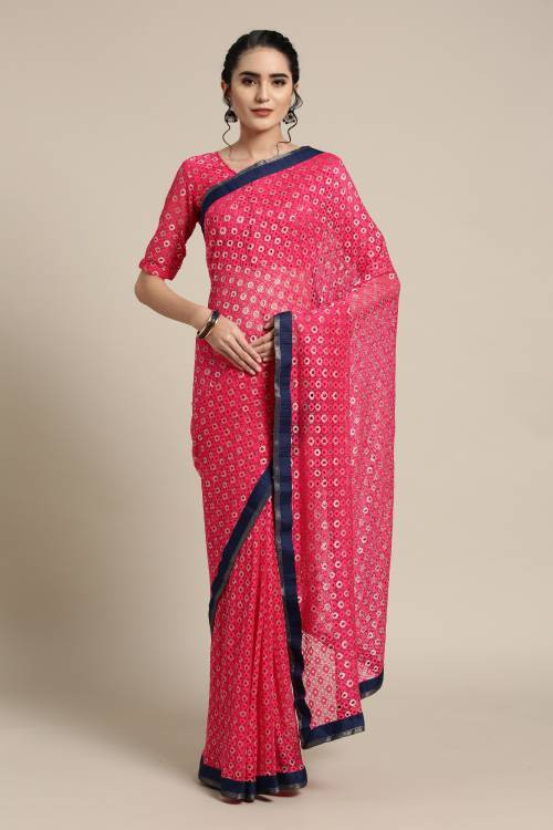 Pink Net Saree With Unstitched Blouse Material
