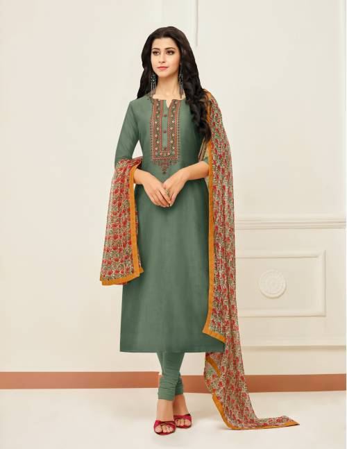 Green Chanderi Cotton  Embroidered Unstitched Churidar Suit