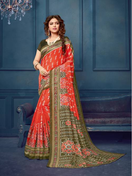 Orange Silk Blend Printed Designer Saree With Unstitched Blouse Material