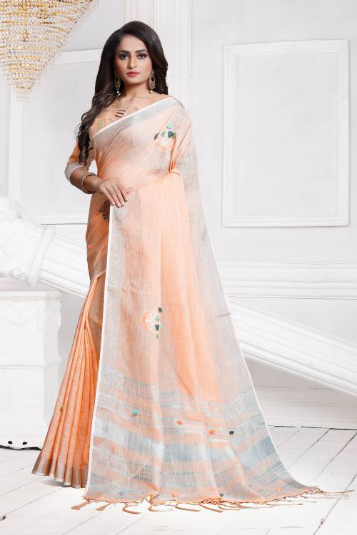 Peach Linen Designer Embroidered Saree With Unstitched Blouse Material