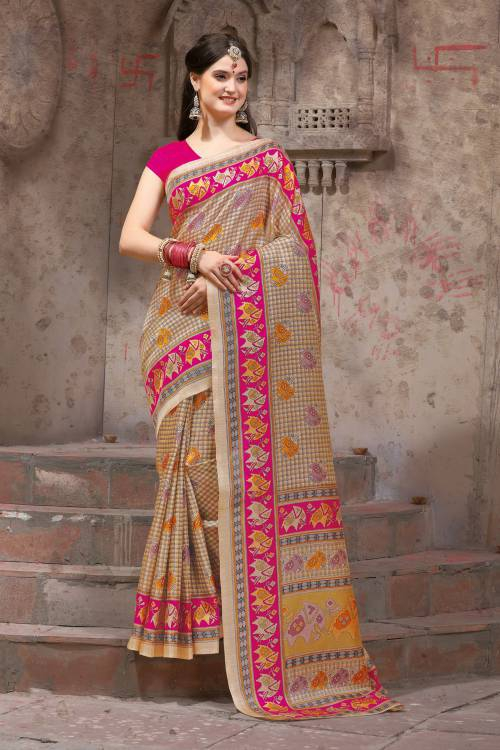 Beige Silk Blend Madhubani Printed Traditional Saree With Unstitched Blouse Material