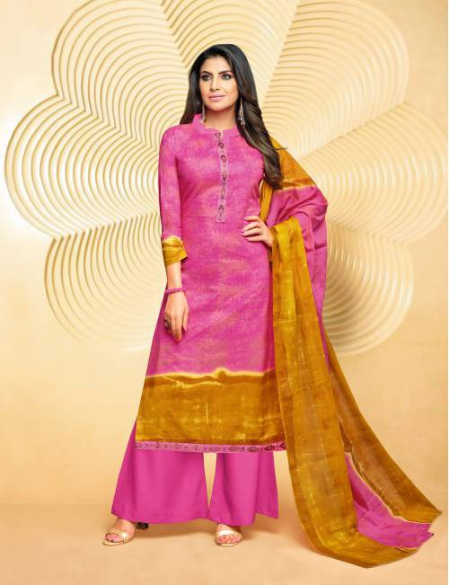 Craftsvilla Pink Cotton Blend Embroidered Unstitched Palazzo Suit
