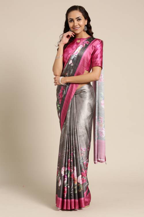 Olive Green Satin Saree With Unstitched Blouse Material