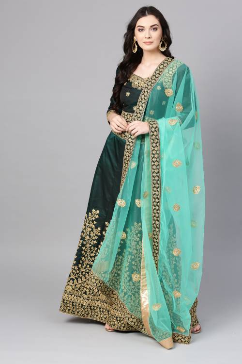 Craftsvilla Green Silk Blend Embroidered A Line Style Lehenga Choli