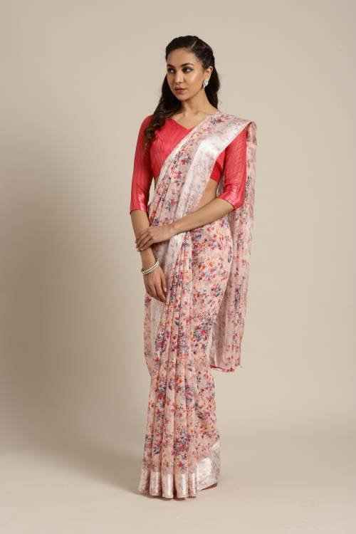 Peach Linen Designer Printed Saree With Unstitched Blouse Material