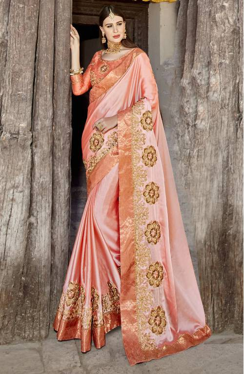 Craftsvilla Peach Moss Georgette Embroidered Designer Saree With Unstitched Blouse Material