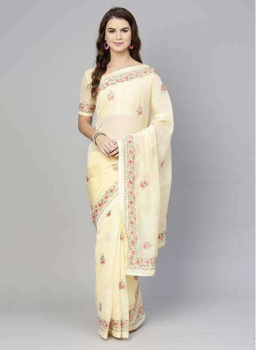 Yellow Organza Embroidered Designer Saree With Unstitched Blouse Material