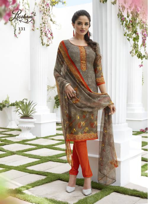 Craftsvilla Brown Color French Crepe Printed Straight Salwar Suit