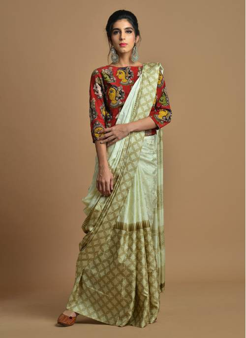 Beige Color Silk Blend Printed Traditional Banarasi Saree With Unstitched Blouse Material
