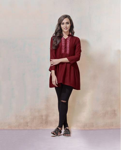 Maroon Rayon Embroidered Straight Top