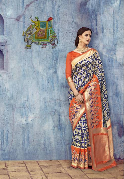 Blue Color Silk Blend Embellished Designer Saree