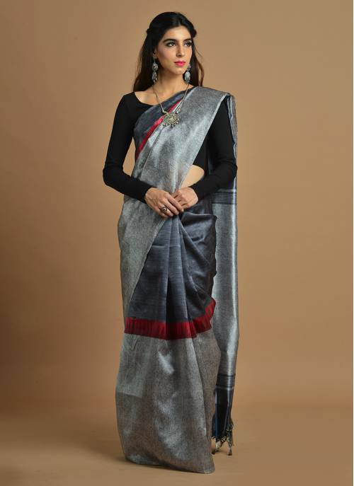 Craftsvilla Grey And Black Color Silk Blend Printed Traditional Saree With Unstitched Blouse Material