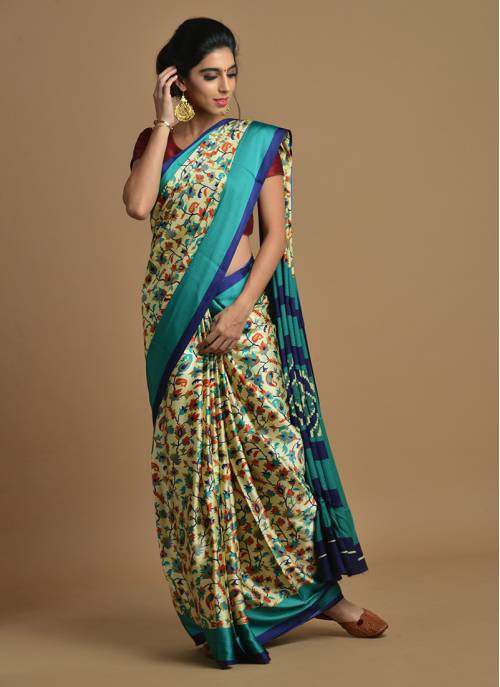Craftsvilla Beige Color Satin Printed Traditional Saree With Unstitched Blouse Material