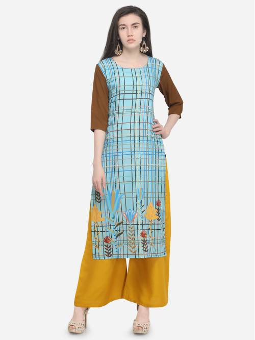 Green Crepe Printed Straight Kurti