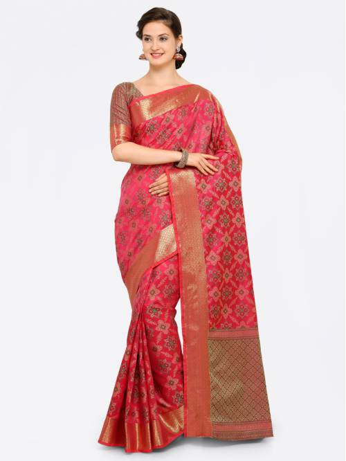Craftsvilla Pink Banarasi Silk Thread Work Designer Saree With Unstitched Blouse Material