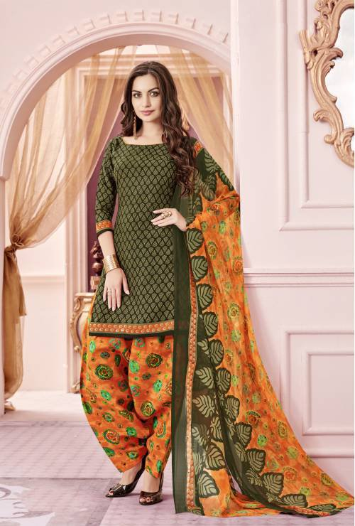Craftsvilla Green Color Cotton Blend Printed Unstitched Straight Suit