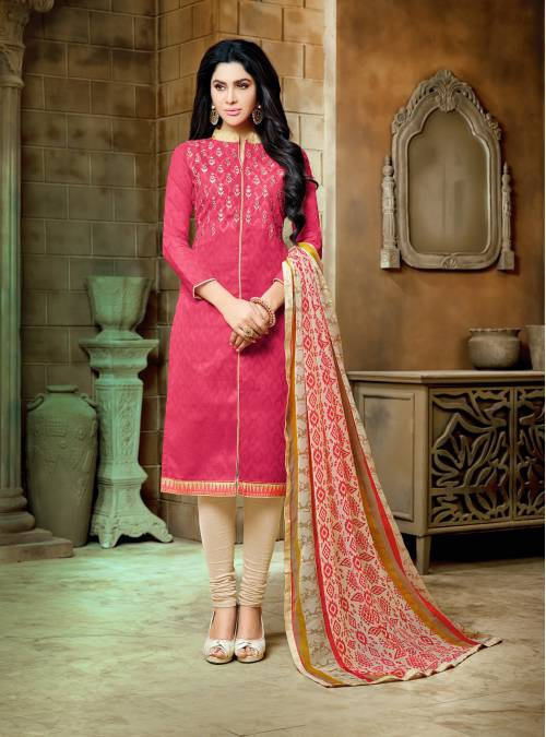 Pink Lakda Jacquard Solid Embroidered Party Dress Material With Unstitched Dupatta