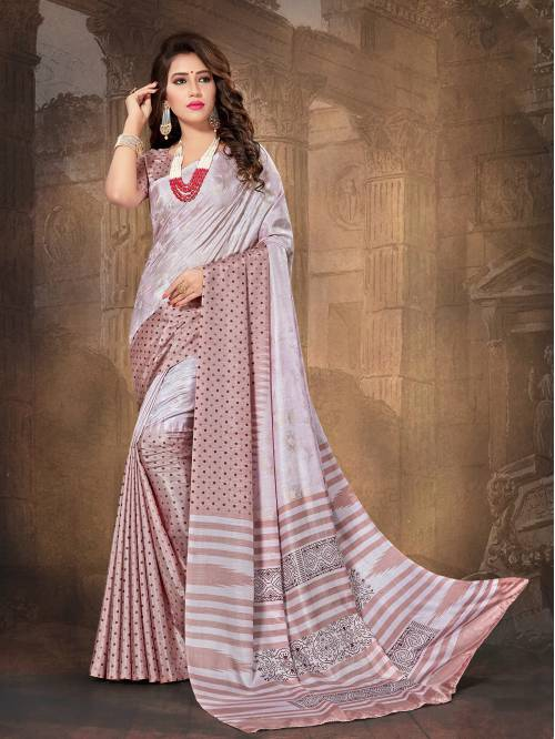 Craftsvilla Purple Color Silk Blend Printed Traditional Banarasi Saree With Unstitched Blouse Material