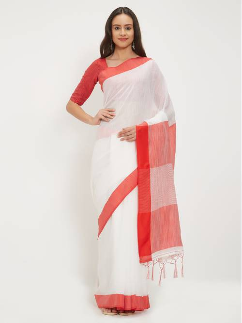 Craftsvilla White Poly Linen Woven Traditional Saree With Two Unstitched Blouse Material
