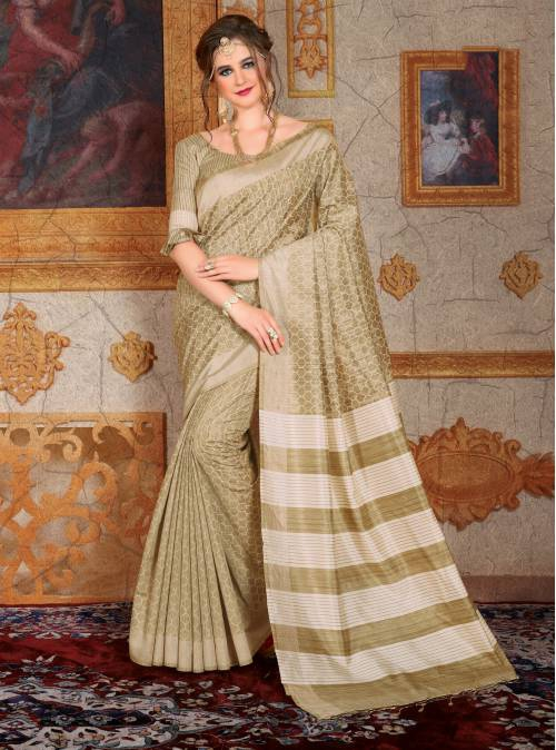 Beige Bhagalpuri Silk Blend Printed Saree With Unstitched Blouse