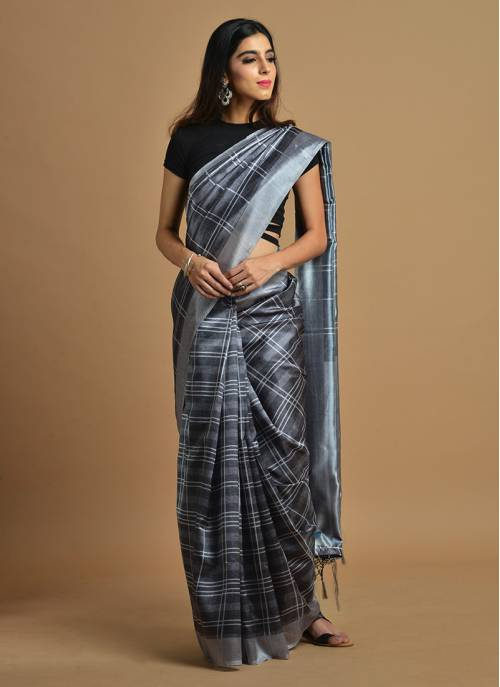 Craftsvilla Grey Color Silk Blend Printed Traditional Saree With Unstitched Blouse Material