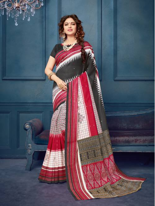 Multicolor Silk Blend Printed Designer Saree With Unstitched Blouse Material