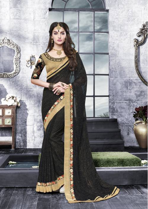 Black Color Lycra Embroidered Designer Saree