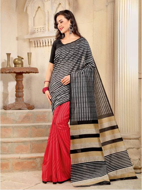 Black And Red Color Bhagalpuri Silk Printed Traditional Saree With Unstiitched Blouse Material