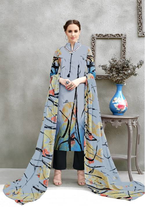 Craftsvilla Grey Color Pure Cotton Abstract Printed Unstitched Salwar Suit