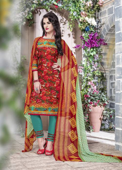 Craftsvilla Red Color Cotton Printed Unstitched Traditional Straight Suit