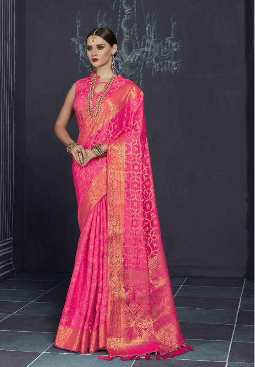 Pink Silk Blend Designer Saree With Unstitched Blouse Material