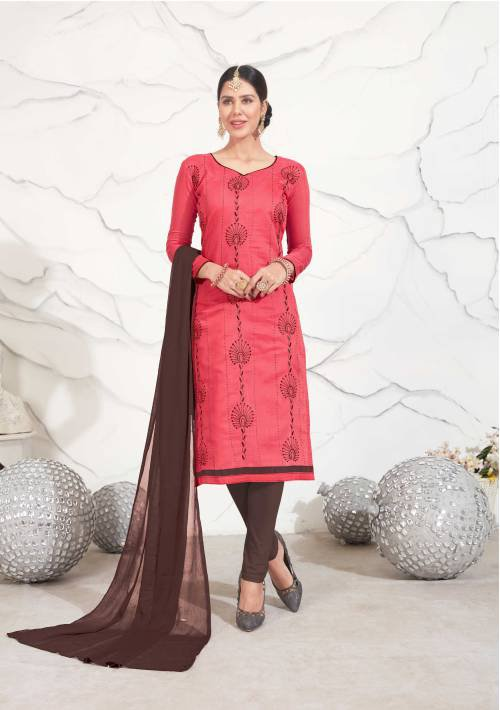 Pink Color Chanderi Embroidered Traditional Unstitched Straight Suit
