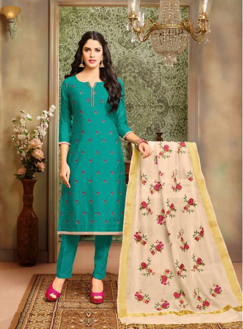 Craftsvilla Green Color Chanderi Cotton Embroidered Unstitched Straight Suit