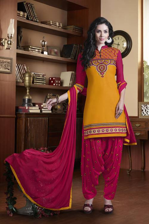 Craftsvilla Yellow Color Cotton Satin  Embroidered Unstitched Traditional Straight Suit