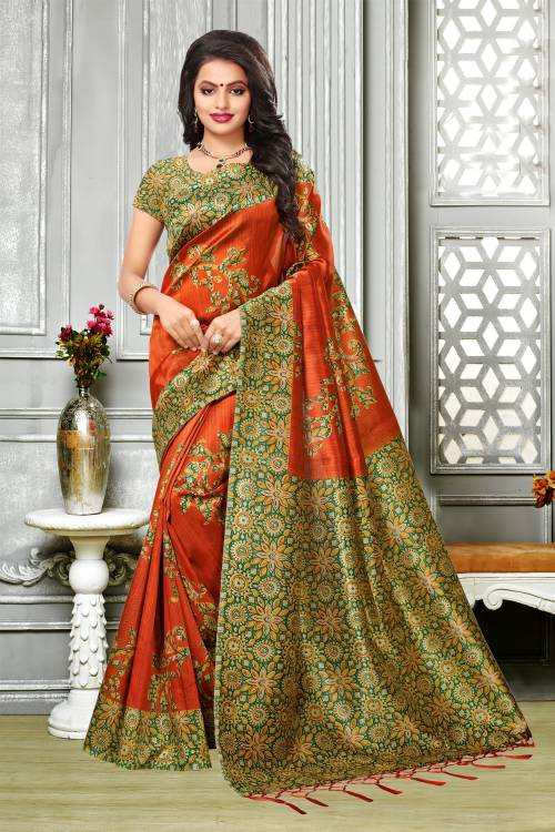 Craftsvilla Orange Color Kalamkari Floral Printed Saree