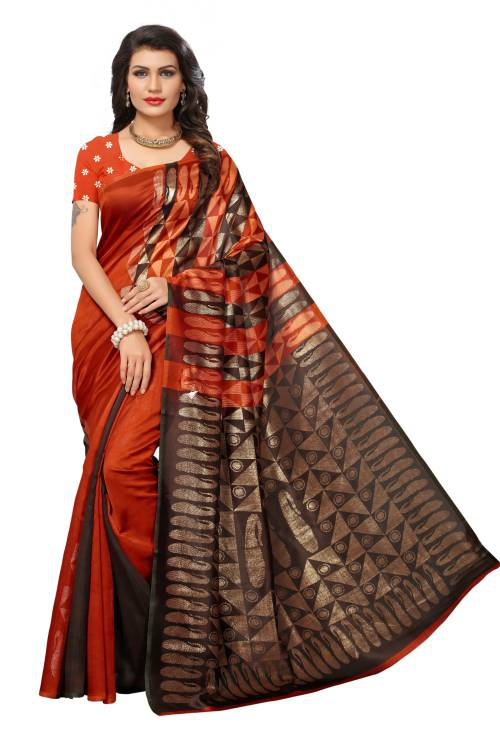 Craftsvilla Brown Color Silk Blend Printed Partywear Saree With Unstitched Blouse