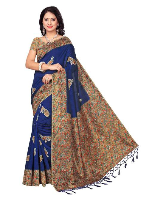 Navy Color Art Silk Solid Partywear Saree With Unstitched Blouse