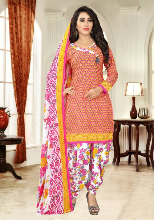 Peach Color Crepe Printed Unstitched Salwar Suit
