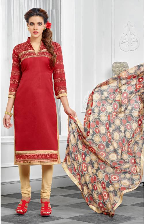 Red Color Chanderi Cotton  Embroidered Unstitched Traditional Straight Suit