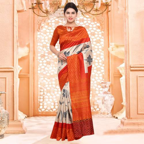 Orange Casual Bhagalpuri Silk Floral Saree With Unstitched Blouse